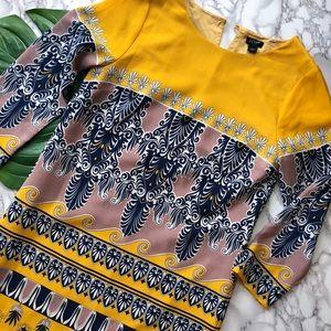 J. Crew Jules Yellow Scroll Print Silk Shift Dress